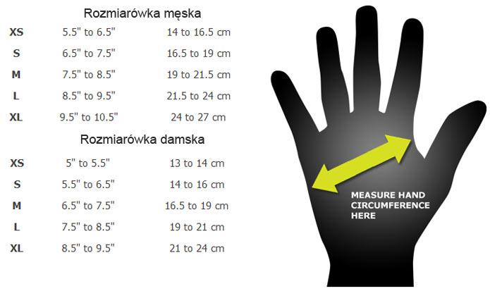 rozmiarówka rękawic rome